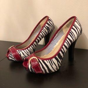 Zebra Print Peep-Toe Pumps - Size 7